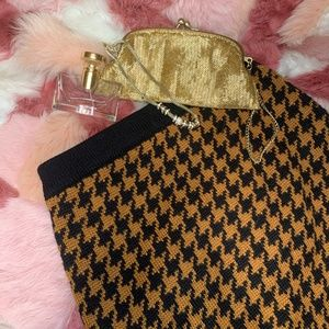 Vintage Houndstooth Brown & Black Pencil Skirt - S